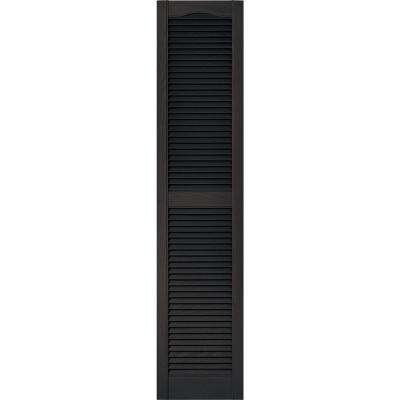 15 in. x 67 in. Louvered Vinyl Exterior Shutters Pair in #010 Musket Brown