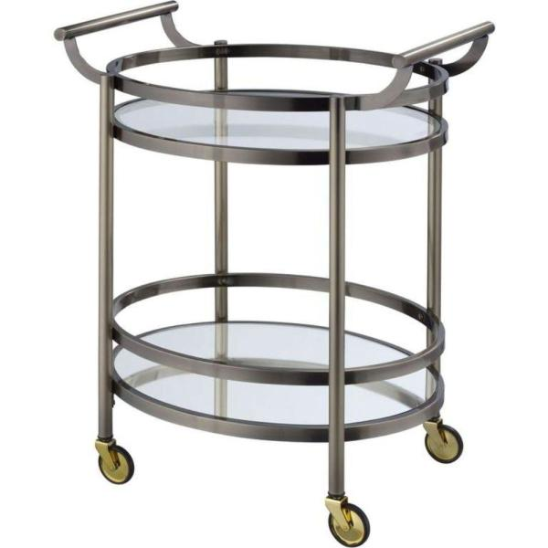 Clear and Black Oval Metal Serving Cart