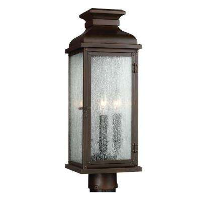 Pediment 7 in. W 2-Light Dark Aged Copper Outdoor 20.125 in. Post Top Light with Clear Seeded Glass