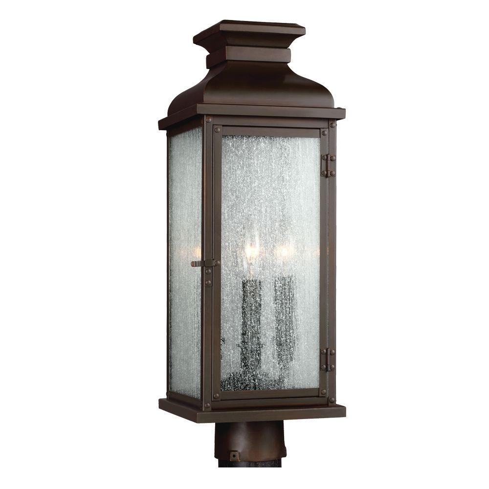 Pediment 2-Light Dark Aged Copper Outdoor Post Top Light