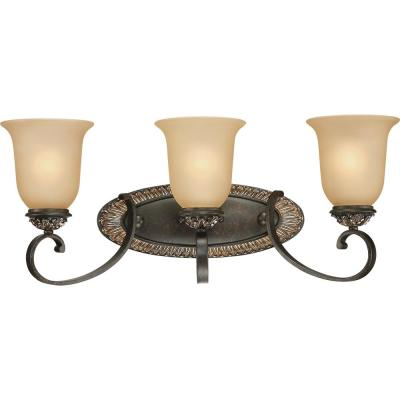 Bristol 3-Light Indoor Vintage Bronze with Antique Gold Bath or Vanity Wall Mount with Sepia Glass Bell Shades