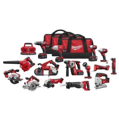 M18 18-Volt Lithium-Ion Cordless Combo Tool Kit (15-Tool) w/(4) 4.0Ah Batteries, (1) 6-Port Charger, (3) Tool Bags