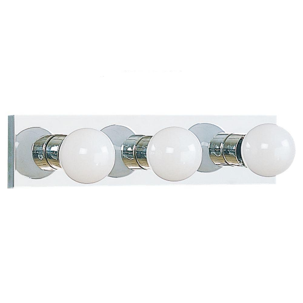 Sea Gull Lighting Center Stage 3-Light Chrome Vanity Bar Light