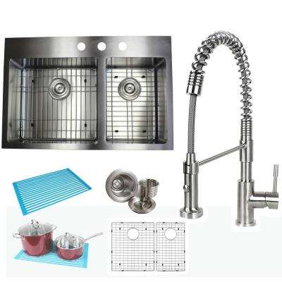 Topmount Drop-In 16-Gauge Stainless Steel 33 in x 22 in. x 10 in. 60/40 Offset Double Bowl Kitchen Sink and Faucet Combo