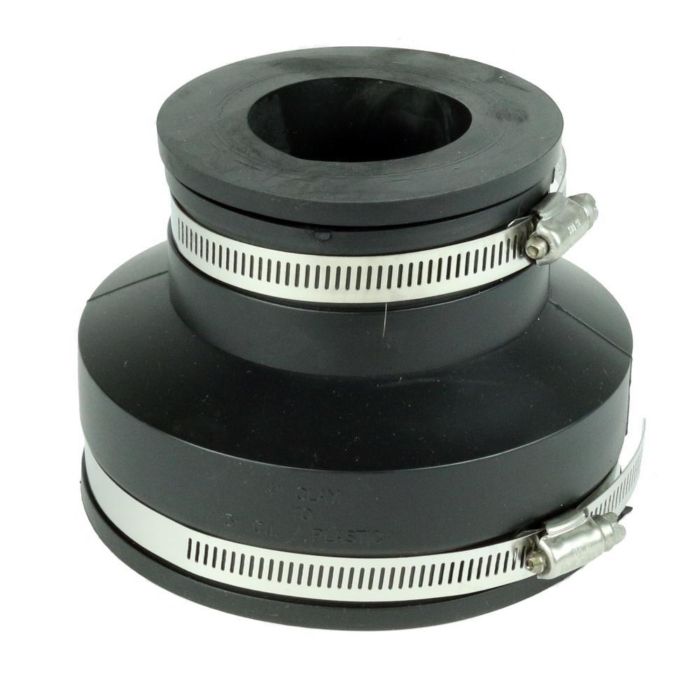 4 in. Clay x 3 in. DWV Flexible PVC Coupling