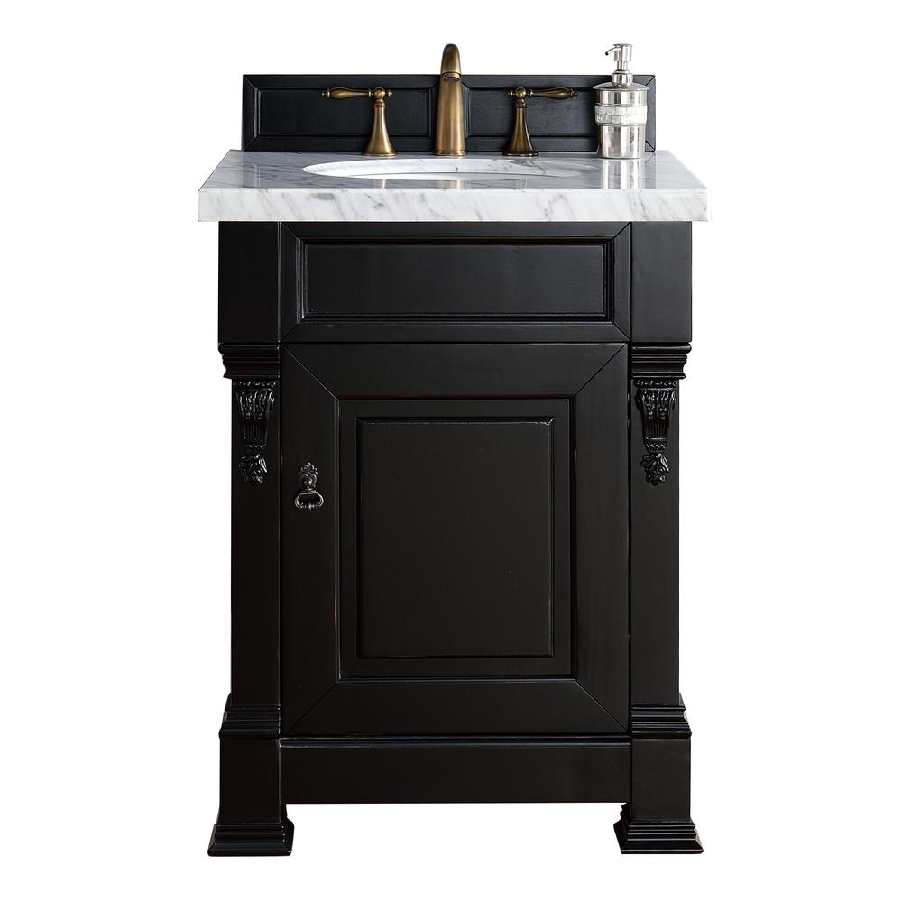 James Martin Signature Vanities Brookfield 26 in. W Single Vanity in Antique  Black with Marble Vanity Top in Carrara White with White  Basin-147V26AQB4CAR ... - James Martin Signature Vanities Brookfield 26 In. W Single Vanity