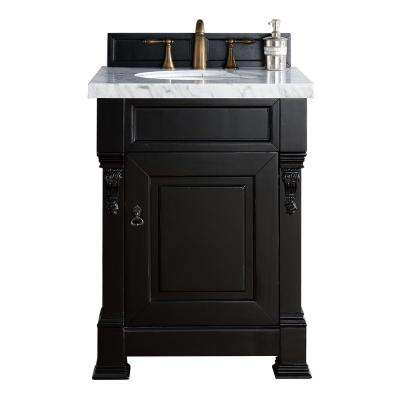 Brookfield 26 in. W Single Vanity in Antique Black with Marble Vanity Top in Carrara White with White Basin