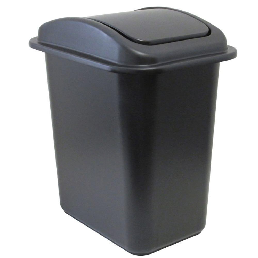 28 Qt. Black Wastebasket with Universal Lid