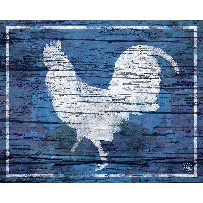"20 in. x 24 in. ""Rooster in White on Cobalt Blue"" Barnwood Framed Wall Art Print"