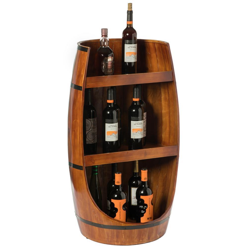 Brown Rustic Wooden Wine Barrel Display Shelf Storage Stand