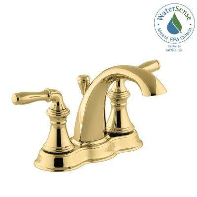 Devonshire 4 in. Centerset 2-Handle Mid-Arc Water-Saving Bathroom Faucet in Vibrant Polished Brass