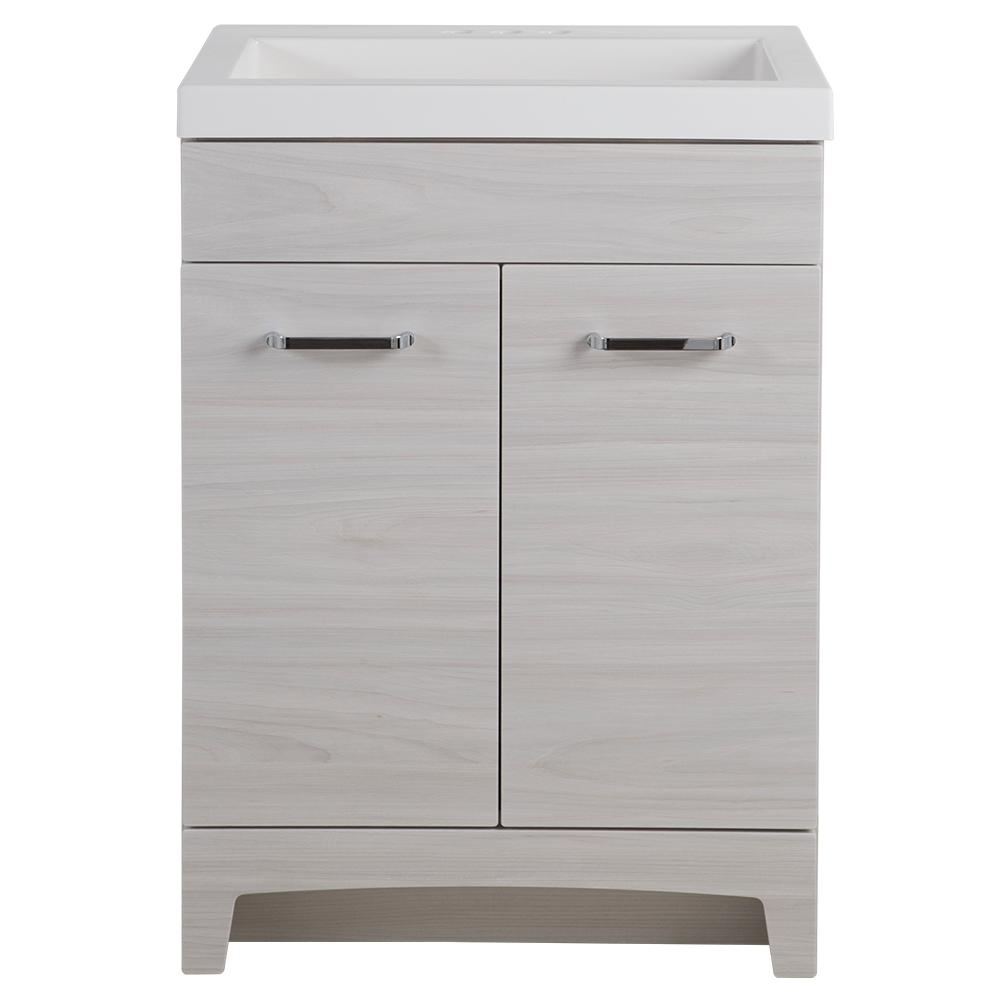 GLACIER BAY 24.5 in. W x 18.75 in. D x 34.34 in. H Vanity in Elm Sky with Cultured Marble Vanity Top in White with White Basin