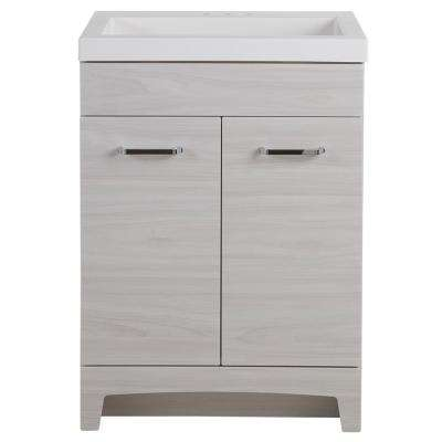 Stancliff 24 in. W x 19 in. D Bathroom Vanity in Elm Sky with Cultured Marble Vanity Top in White with White Sink