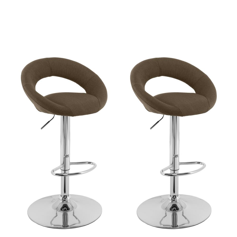 Corliving Adjule Height Dark Brown Round Open Back Fabric Bar Stool Set Of 2
