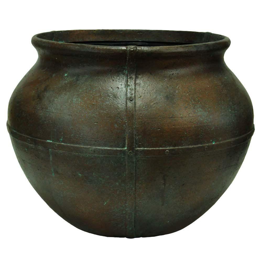 24 in. Round Copper Patina Cast Stone Caldron Pot