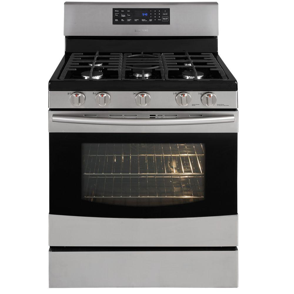 Samsung 5.8 cu. ft. Gas Range with Self-Cleaning Convection Oven in Stainless Steel