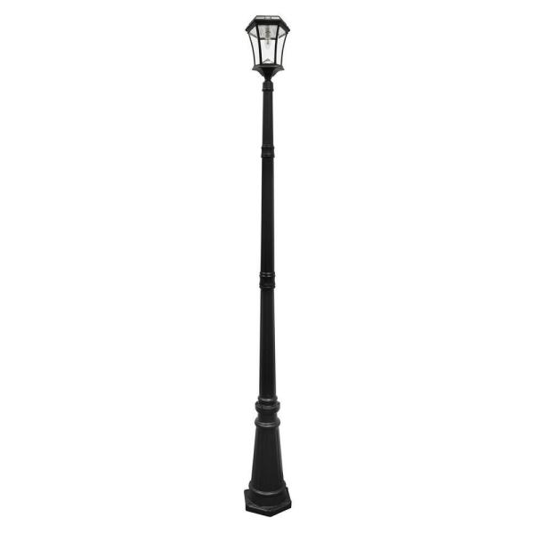 Victorian Bulb Series Single Black Integrated LED Outdoor Solar Lamp Post Light with GS Solar LED Light Bulb