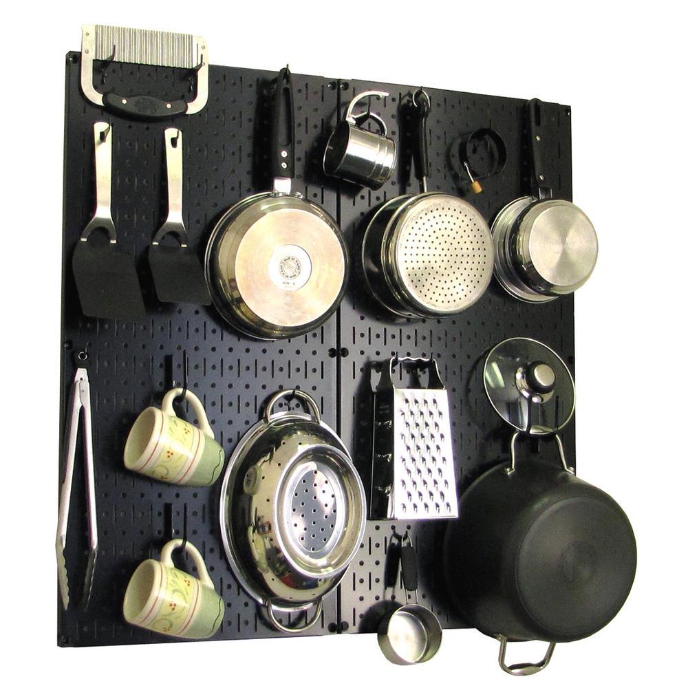 Wall Control Kitchen Pegboard 32 in. x 32 in. Metal Peg Board Pantry Organizer Kitchen Pot Rack Black Pegboard and Black Peg Hooks