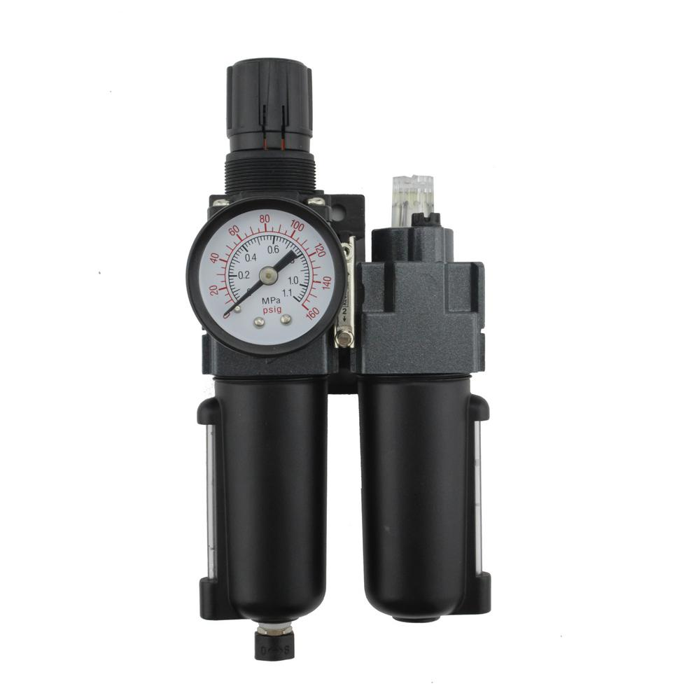 1/4 in. NPT Mini Metal FRL Air Filter Regulator with Lubricator