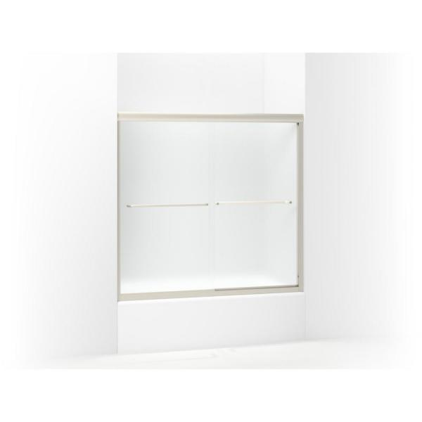STERLING Finesse 59-5/8 in. x 55-3/4 in. Semi-Frameless Sliding Shower Door in Frosted Nickel with Handle