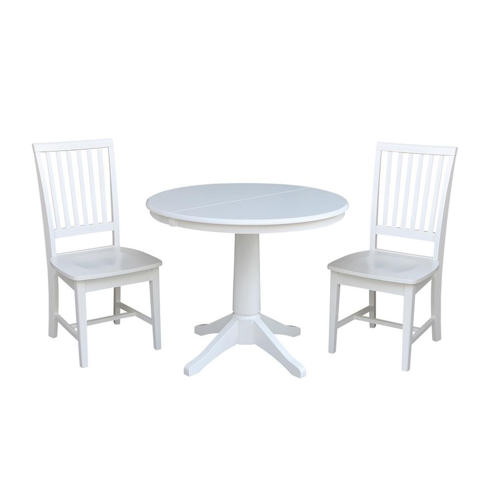 International Concepts Olivia 3-Piece White Oval Dining S...