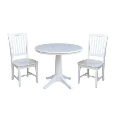 Olivia 3-Piece White Oval Dining Set with Mission Chairs