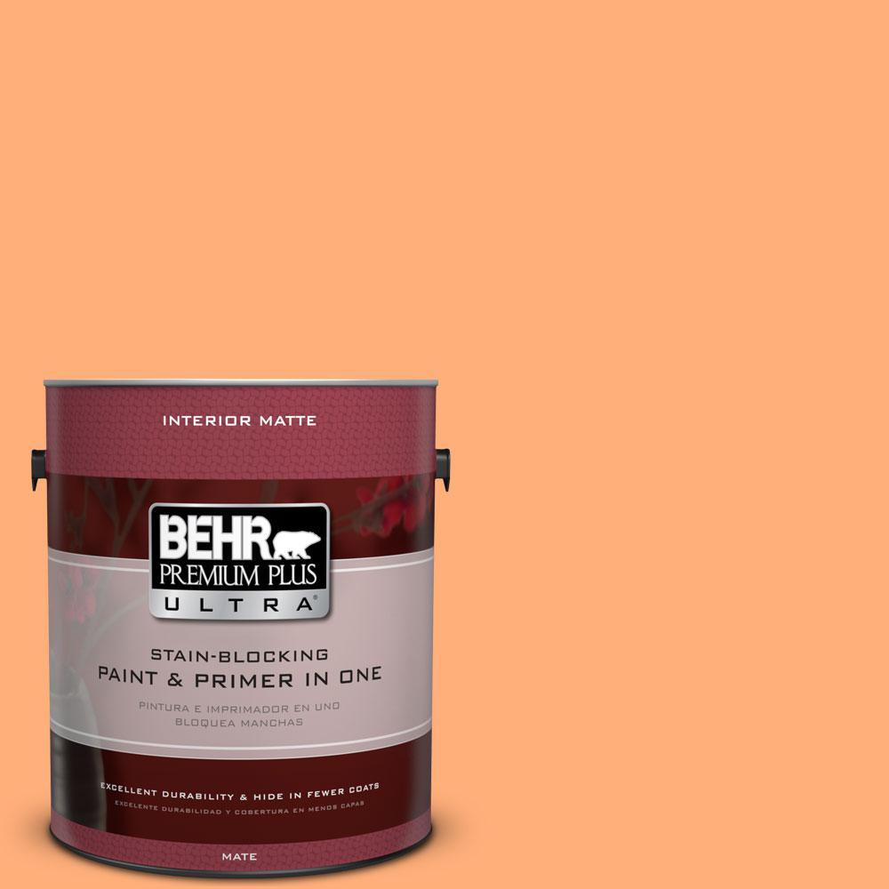1 gal. #260B-5 Cantaloupe Slice Matte Interior Paint and Primer in