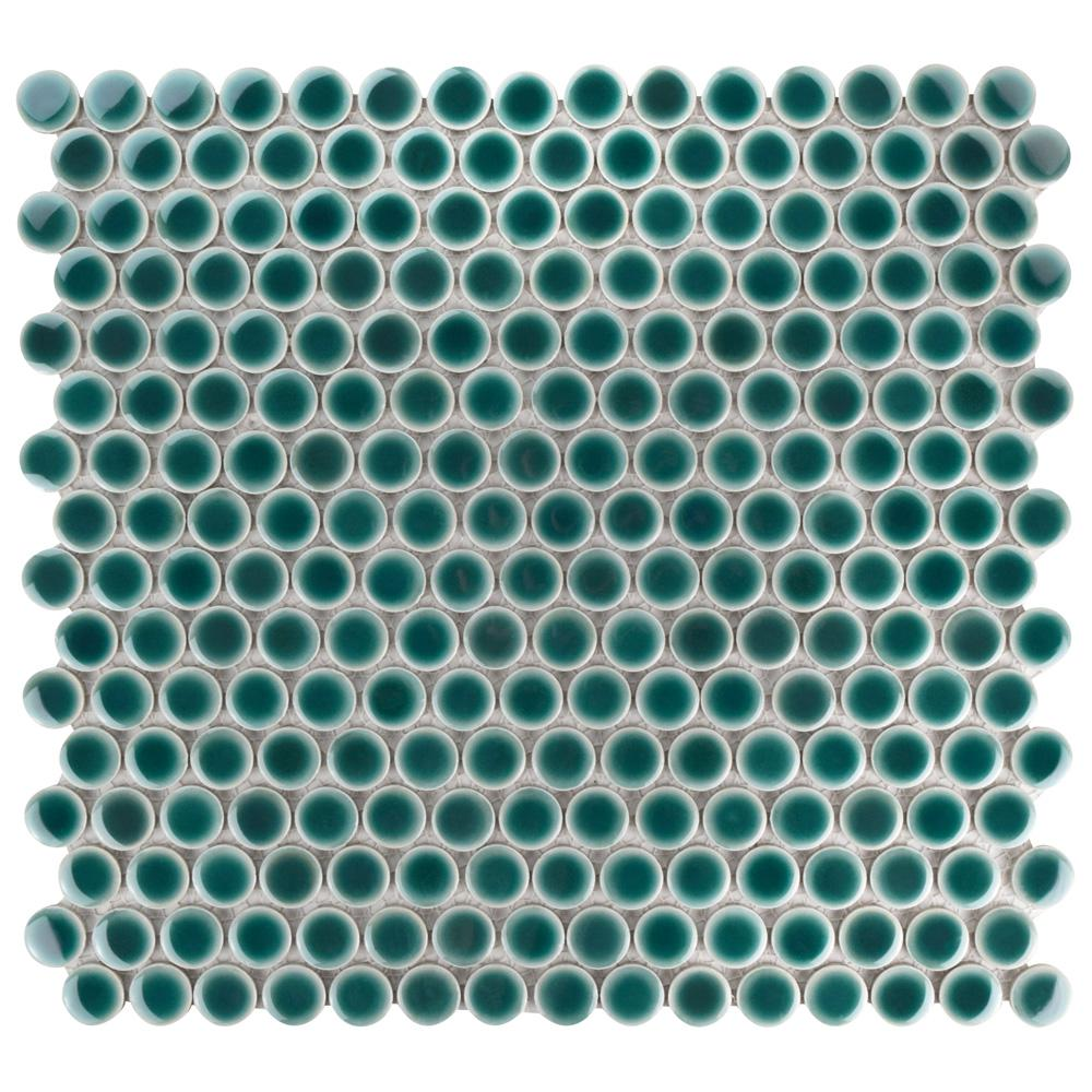 Merola Tile Hudson Penny Round Emerald 12 in. x 12-5/8 in. x 5 mm ...