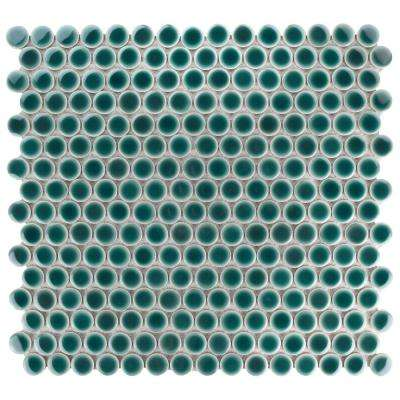 Hudson Penny Round Emerald 12 in. x 12-5/8 in. x 5 mm Porcelain Mosaic Tile (10.2 sq. ft. / case)
