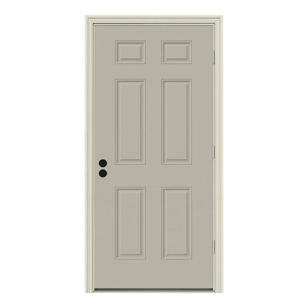 32 in. x 80 in. 6-Panel Desert Sand Painted Steel Prehung Left-Hand Outswing Front Door w/Brickmould