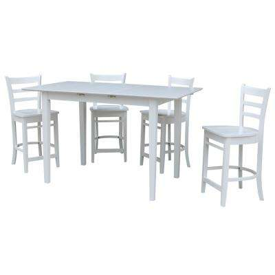 Solid Wood 5-Piece Pure White Dining Set