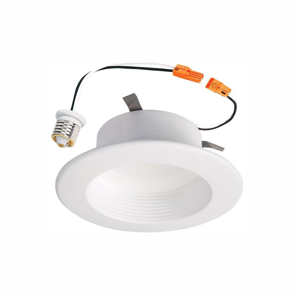 Halo Rl 4 In White Integrated Led Recessed Ceiling Light Fixture Retrofit Baffle Trim With 90 Cri 3000k Soft