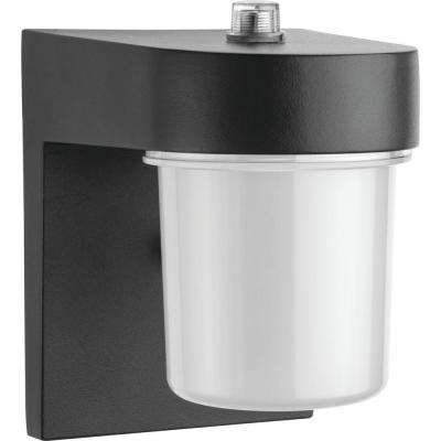 OSC 1-Light Black Outdoor Integrated LED Wall Lantern Sconce with Dusk to Dawn Photocell