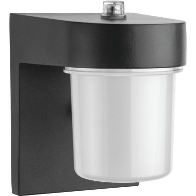 1-Light Black LED Outdoor Entry Light Wall Lantern Sconce with Dusk to Dawn Photocell