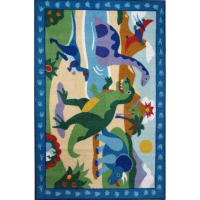 Olive Kids Dinosaurland Multi Colored 39 in. x 58 in. Area Rug