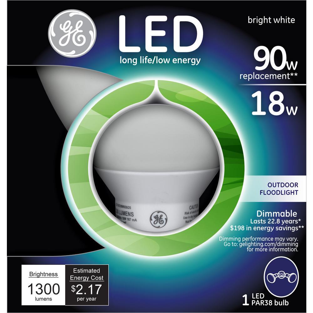 90W Equivalent Bright White (3000K) PAR38 Dimmable LED Flood Light Bulb