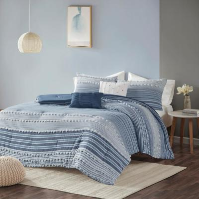 Charlie 4-Piece Navy Stripes and Plaids Cotton Jacquard Twin/Twin XL Comforter Set