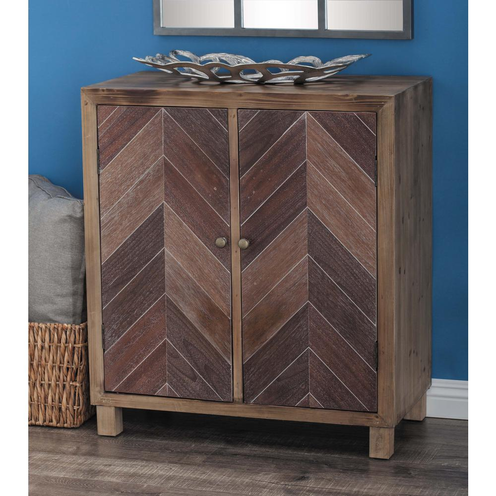 Litton Lane Chevron Patterned Wooden Brass Cabinet 98151 The Home