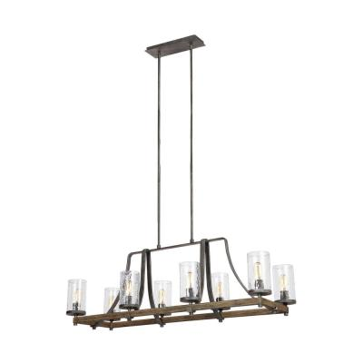 Angelo 46 in. W. 8-Light Distressed Weathered Oak and Slate Grey Metal Island Chandelier with Clear Thick Wavy Glass