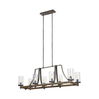 Angelo 46 in. W. 8-Light Distressed Weathered Oak Island Chandelier with Clear Thick Wavy Glass
