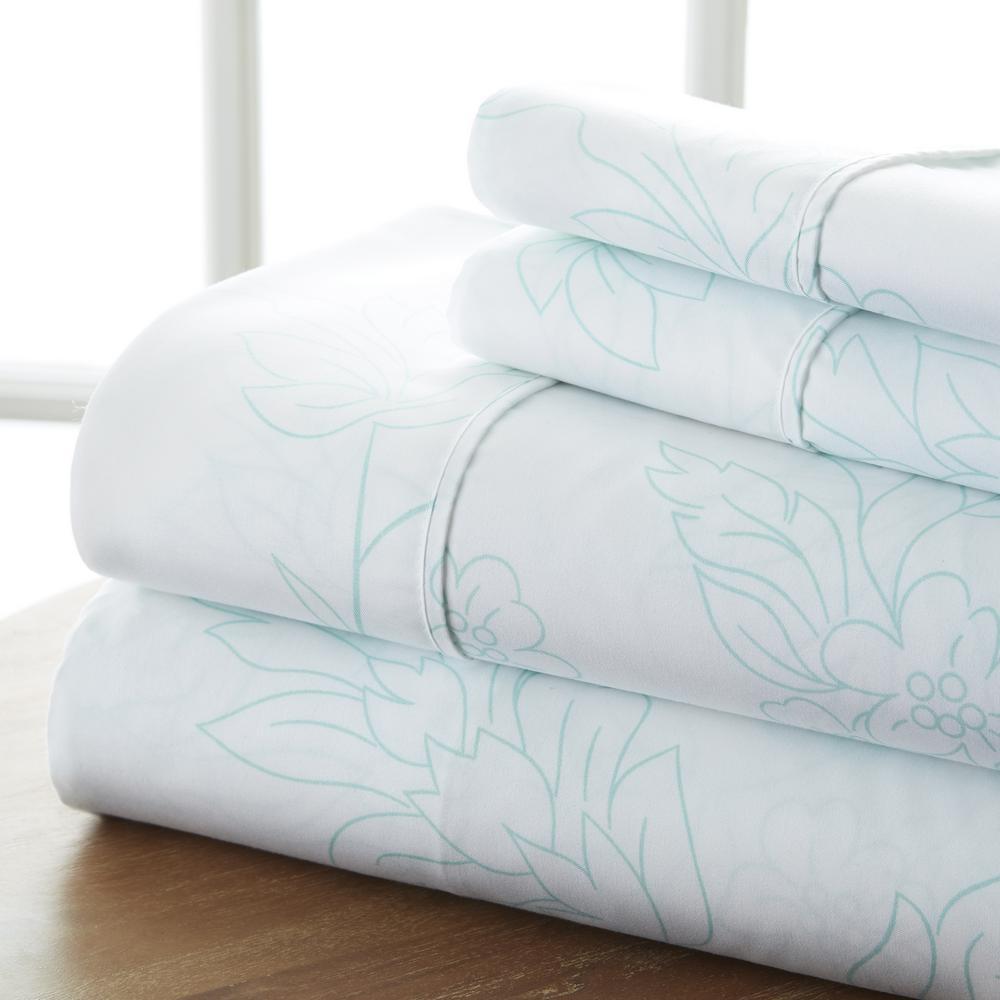 4-Piece Aqua Floral Microfiber Queen Sheet Set