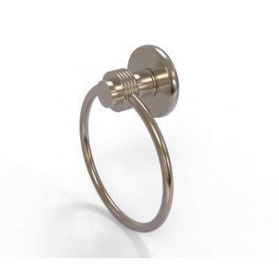 Mercury Collection Towel Ring with Groovy Accent in Antique Pewter
