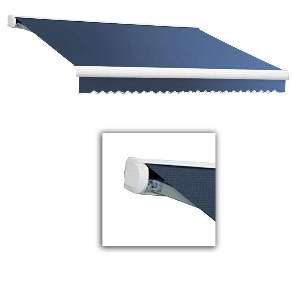 AWNTECH 12 ft. Key West Full-Cassette Left Motor Retractable Awning with Remote (120 in. Projection) in Dusty Blue
