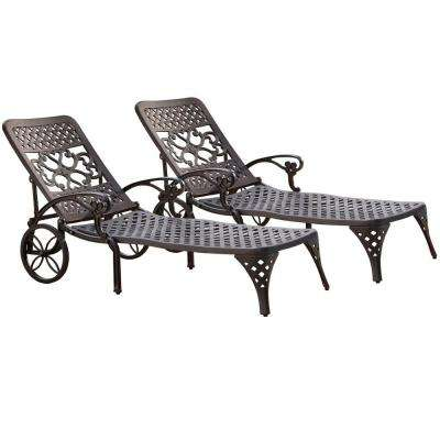 Biscayne Black Patio Chaise Lounge (Set of 2)