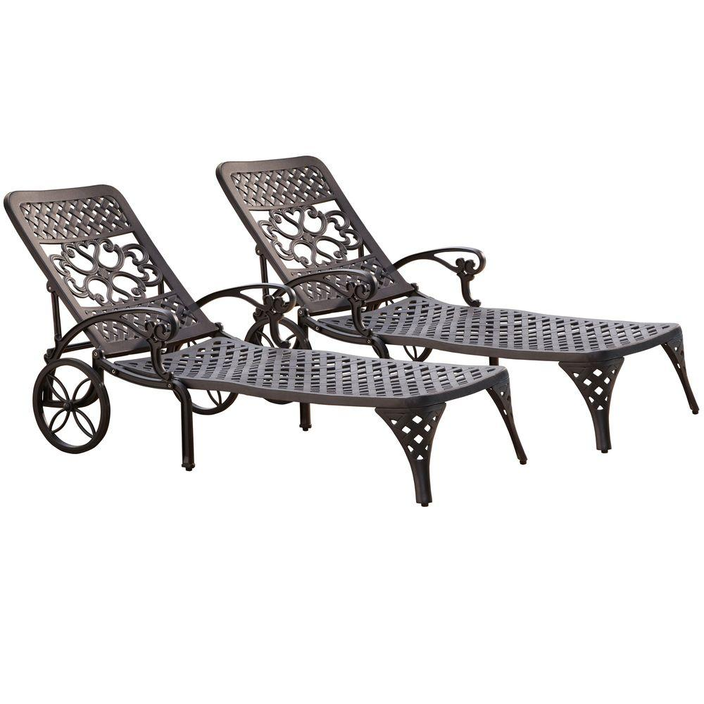 Tremendous Homestyles Biscayne Black Patio Chaise Lounge Set Of 2 Squirreltailoven Fun Painted Chair Ideas Images Squirreltailovenorg