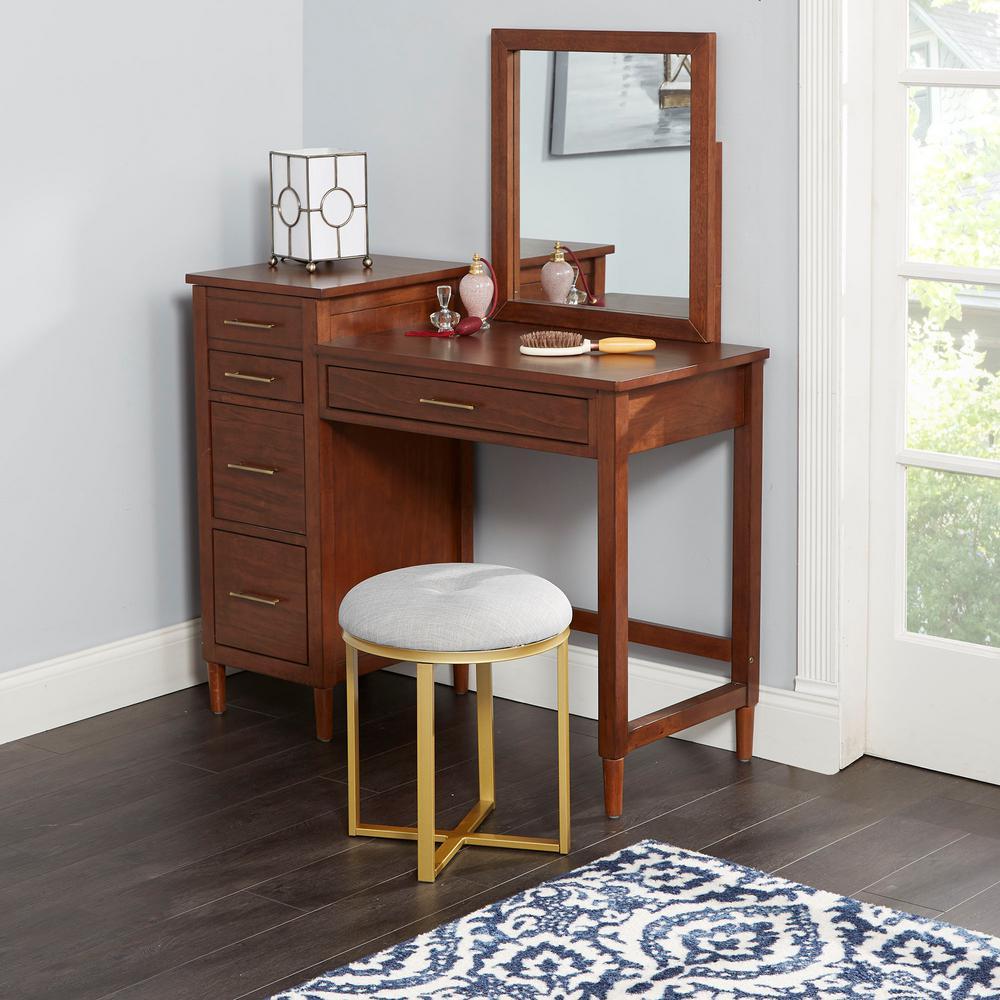 Mia Gray Upholstered Gold Metal Round Vanity Seat