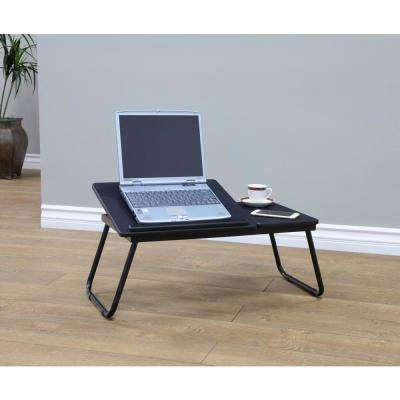 24 in. Black Plastic Portable Folding Utility Table