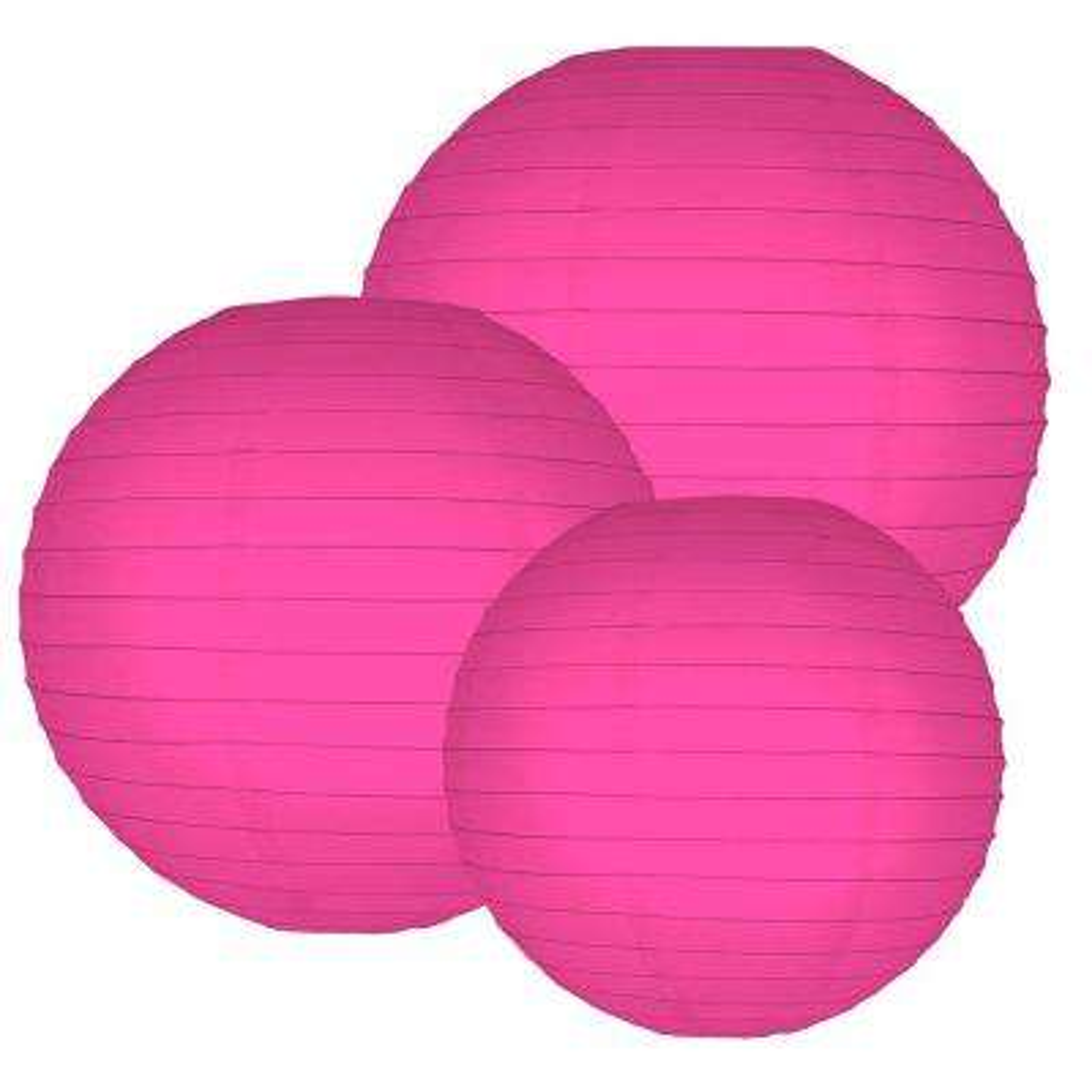 Multi Size Fuchsia Round Paper Lanterns (6-Count)