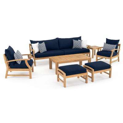 Kooper 8-Piece Wood Patio Conversation Set with Sunbrella Navy Blue Cushions