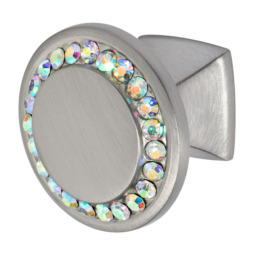 Isabel 1-1/4 in. Satin Nickel with Multi-Color Crystal Cabinet Knob